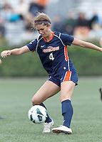 Pepperdine University defender Kelsea Smith (4) passes the ball. Pepperdine University defeated Boston College,1-0, at Soldiers Field Soccer Stadium, on September 29, 2012.