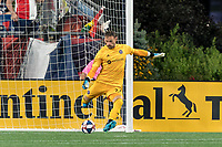 FOXBOROUGH, MA - AUGUST 25: Kenneth Kronholm #27 of Chicago Fire goal kick during a game between Chicago Fire and New England Revolution at Gillette Stadium on August 24, 2019 in Foxborough, Massachusetts.