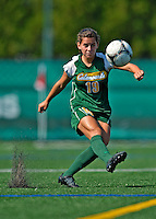 26 August 2012: University of Vermont Catamount defender Megan Rozumalski in action against the Fairfield University Stags at Virtue Field in Burlington, Vermont. The Stags defeated the Lady Cats 1-0. Mandatory Credit: Ed Wolfstein Photo