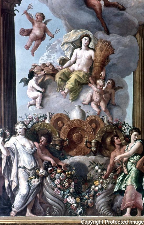 London: Hampton Court. Verrio--Figures of the Muses and Goddesses of Plenty.