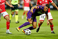 18th April 2021; HBF Park, Perth, Western Australia, Australia; A League Football, Perth Glory versus Wellington Phoenix; Christopher Ikonomidis of the Perth Glory goes low as he weaves through the Wellington defence