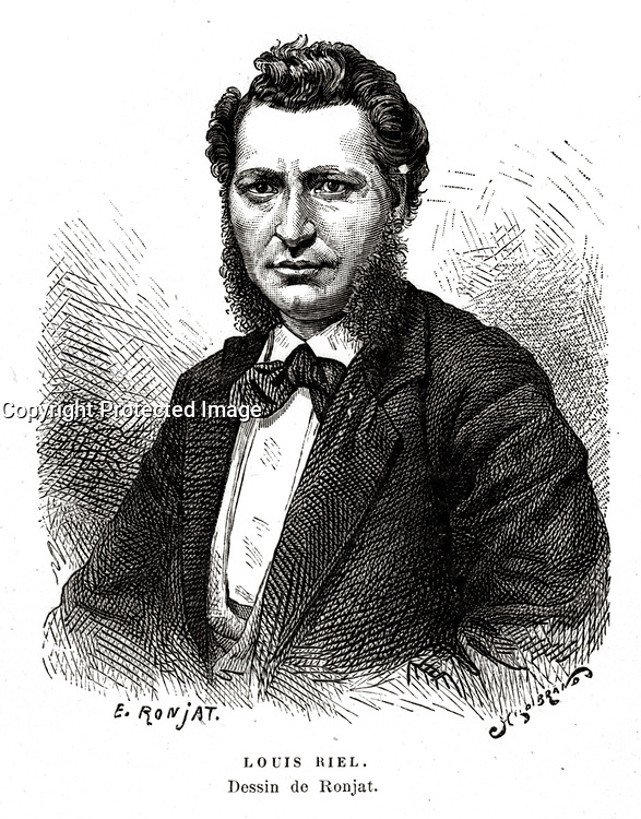 FILE IMAGE - Louis Riel 1844 – 16 November 1885) was a Canadian politician, a founder of the province of Manitoba, and a political leader of the Metis people of the Canadian prairies.<br /> <br /> Drawing by Ronjat
