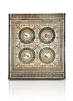 Picture of a Roman mosaics design depicting the Four Seasons, from the ancient Roman city of Thysdrus. 3rd century AD, House in Jiliani Guirat area. El Djem Archaeological Museum, El Djem, Tunisia. Against a white background