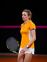 The Hague, The Netherlands, Februari 4, 2020,    Sportcampus, FedCup  Netherlands -  Balarus, practise, Indy de Vroome (NED)<br /> Photo: Tennisimages/Henk Koster