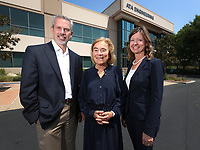 August 10, 2018. San Diego, CA. USA. | ATA Engineering's left to right, Tom Deiters, VP, General Manager, Mary Baker President, and Tricia Waniewski V P, Senior Director, Business Development. | Photos by Jamie Scott Lytle, copyright.