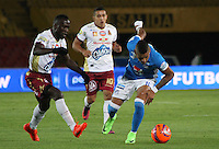 BOGOTA -COLOMBIA, 22-02-2017. Ayron Del Valle (R) player of Millonarios  fights for the ball with Victor Castillo (L) player of Tolima during match for the date 5 of the Aguila League I 2017 played at Nemesio Camacho El Campin stadium . Photo:VizzorImage / Felipe Caicedo  / Staff