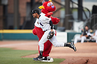 Winston-Salem Dash second baseman Lenyn Sosa (25) takes the field prior to the game against the Hickory Crawdads at Truist Stadium on July 7, 2021 in Winston-Salem, North Carolina. (Brian Westerholt/Four Seam Images)