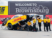 Jul 18, 2020; Clermont, Indiana, USA; Crew members for NHRA funny car driver J.R. Todd during qualifying for the Summernationals at Lucas Oil Raceway. Mandatory Credit: Mark J. Rebilas-USA TODAY Sports