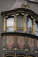 Europe/République Tchèque/Prague:Détail d'une maison Art Nouveau de la Vieille Ville- Quartier Juif