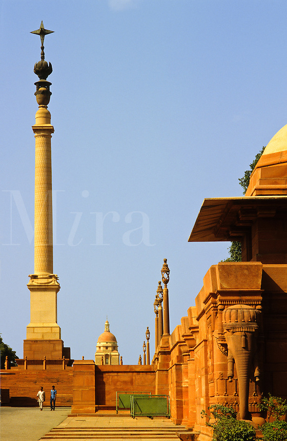 India. New Delhi. Part of the administrative complex designed by Sir Edwin Lutyens in the 1920s at Rashtrapati Bhavan.