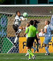 Los Angeles Sol goalkeeper Karina LeBlanc (23) makes a save against the St. Louis Athletica during a WPS match at Hermann Stadium, in St. Louis, MO, April 25 2009. The match ended in a 0-0 tie.