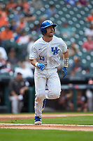 Kole Cottam (13) of the Kentucky Wildcats hustles down the first base line against the Sam Houston State Bearkats during game four of the 2018 Shriners Hospitals for Children College Classic at Minute Maid Park on March 3, 2018 in Houston, Texas. The Wildcats defeated the Bearkats 7-2.  (Brian Westerholt/Four Seam Images)