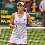 London Wimbledon Championships Day 12 10/07/2021<br /> Ash Barty (AUS) wearing a tribute to her heroine  Evonne Goolagong Cawley, a replica scalloped dress wins ladies singles final<br /> Roger Parker International Sports Fotos Ltd