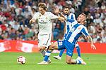 Real Madrid Luka Modric and RCD Espanyol Alex Lopez during La Liga match between Real Madrid and RCD Espanyol at Santiago Bernabeu Stadium in Madrid, Spain. September 22, 2018. (ALTERPHOTOS/Borja B.Hojas)