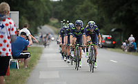 Team Movistar at course recon in the morning with Spanish TT champion Jonathan Castroviejo (ESP/Movistar) leading the way<br /> <br /> stage 9: TTT Vannes - Plumelec (28km)<br /> 2015 Tour de France