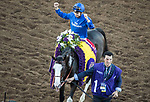 DEL MAR, CA - NOVEMBER 04: Mickael Barzalona, aboard Talismanic #1, celebrates after winning the Longines Breeders' Cup Turf on Day 2 of the 2017 Breeders' Cup World Championships at Del Mar Thoroughbred Club on November 4, 2017 in Del Mar, California. (Photo by Alex Evers/Eclipse Sportswire/Breeders Cup)
