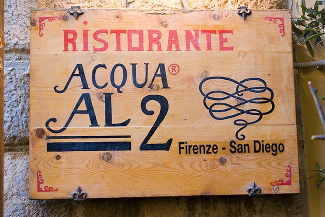 Exterior Sign, Acqua Al Due Restaurant, Florence, Italy