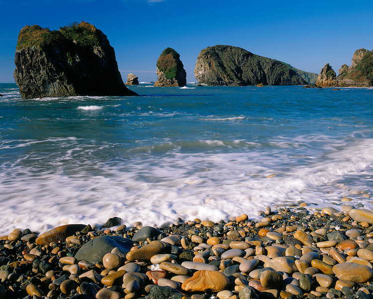 Rocky shore of the Pacific Ocean at high tide; Harris Beach State Park, OR