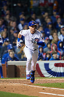 Chicago Cubs Albert Almora Jr. (5) runs to first base in the seventh inning during Game 4 of the Major League Baseball World Series against the Cleveland Indians on October 29, 2016 at Wrigley Field in Chicago, Illinois.  (Mike Janes/Four Seam Images)