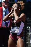 13 JUNE 2015: Kala Funderburk of Florida State reacts after winning the NCAA Championship in the Women's 400 meters during the Division I Men's and Women's Outdoor Track & Field Championship held at Hayward Field in Eugene, OR. Funderburk won the race in a time of 51.67. Steve Dykes/ NCAA Photos