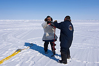 Arnold Brower Jr., and an ABC crew member drill holes into the pack ice to set up the block and tackle used to pull in a 48 foot 8 inch bowhead whale, Balaena mysticetus, Chukchi Sea, Arctic Alaska