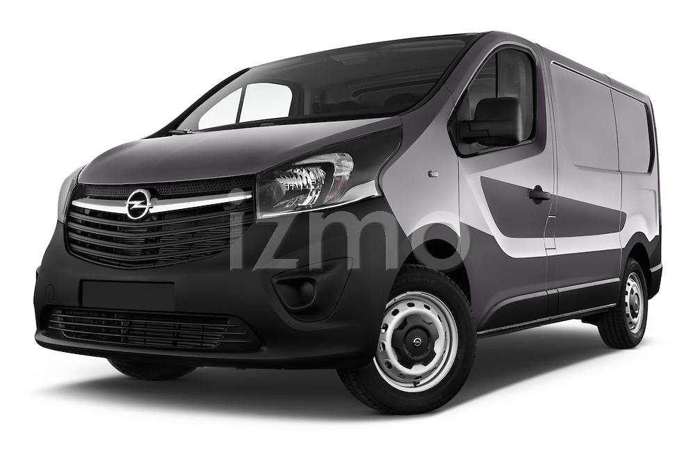 Low Aggressive Front Three Quarter View of 2015 Opel Vivaro Edition 4 Door Cargo Van 2WD Stock Photo