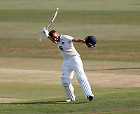 Jack Leaning celebrates his hundred for Kent during Kent CCC vs Sussex CCC, Bob Willis Trophy Cricket at The Spitfire Ground on 9th August 2020