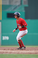 GCL Red Sox left fielder Juan Hernandez (3) leads off first base during a game against the GCL Rays on August 1, 2018 at JetBlue Park in Fort Myers, Florida.  GCL Red Sox defeated GCL Rays 5-1 in a rain shortened game.  (Mike Janes/Four Seam Images)