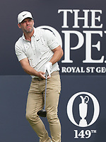 13th July 2021; The Royal St. George's Golf Club, Sandwich, Kent, England; The 149th Open Golf Championship, practice day; Paul Casey (ENG) watches his tee shot on the opening hole