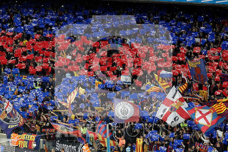FC Barcelona's supporters during La Liga match. April 2,2016. (ALTERPHOTOS/Acero)