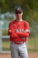 Canada Junior National Team pitching coach Jeff Francis (46) during an exhibition game against the Toronto Blue Jays on March 8, 2020 at Baseball City in St. Petersburg, Florida.  (Mike Janes/Four Seam Images)