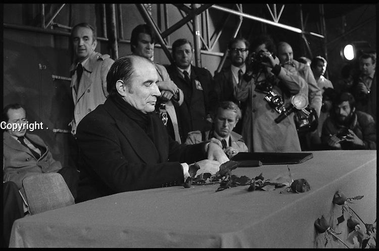 Toulouse (Haute-Garonne). 3 Mai 1974. Vue de François Mitterand lors d'une réunion.