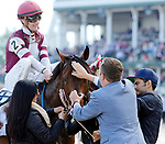 LOUISVILLE, KY - MAY 06: Julien Leparoux, aboard Divisidero #2, after winning the Woodford Reserve Turf Classic Stakes on Kentucky Derby Day at Churchill Downs on May 6, 2017 in Louisville, Kentucky. (Photo by Candice Chavez/Eclipse Sportswire/Getty Images)
