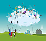 Businesspeople representating concept of cloud computing