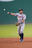 Second baseman Jonathan Aranda (8) of the Greenville Drive during a game against the Bowling Green Hot Rods on Wednesday, May 5, 2021, at Fluor Field at the West End in Greenville, South Carolina. (Tom Priddy/Four Seam Images)