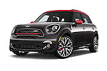Stock pictures of low aggressive front three quarter view of a 2015 MINI Countryman John Cooper Works 5 Door Hatchback Low Aggressive