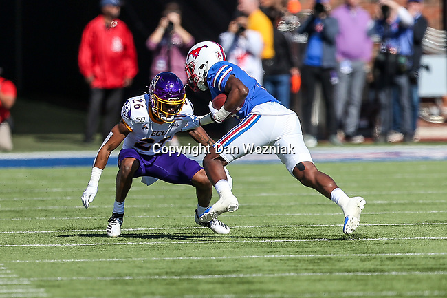 East Carolina Pirates defensive back Colby Gore (26) in action during the game between the East Caroline Pirates  and the SMU Mustangs at the Gerald J. Ford Stadium in Fort Worth, Texas.