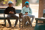 AUGUST 27, 2021: Mario Gutierrez and Juan Hernandez between workout sets at Del Mar Fairgrounds in Del Mar, California on August 27, 2021. Evers/Eclipse Sportswire/CSM
