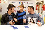 Getafe's Pablo Sarabia and Alvaro Vazquez attend fans in the LFP Museum. January 30,2015.(ALTERPHOTOS/Acero)