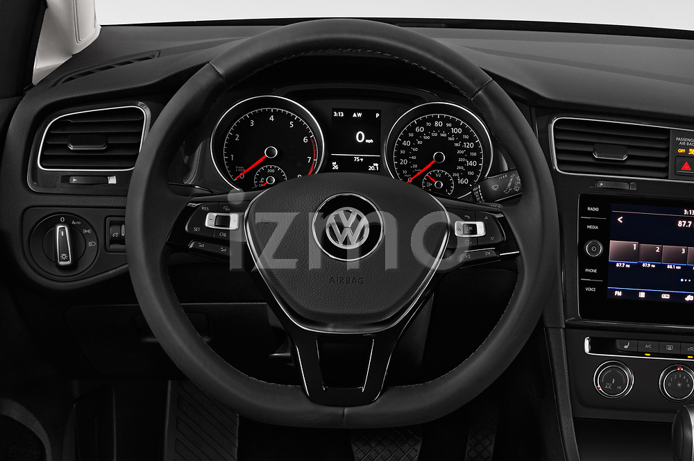 Car pictures of steering wheel view of a 2018 Volkswagen Golf SportWagen SE 5 Door Wagon