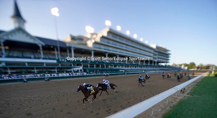 September 5, 2020: Authentic, #18, ridden by jockey John Valezquez, wins the 146th running of the Kentucky Derby. The races are being run without fans due to the coronavirus pandemic that has gripped the world and nation for much of the year, with only essential personnel, media and ownership connections allowed to attend at Churchill Downs in Louisville, Kentucky. Scott Serio/Eclipse Sportswire/CSM (Image made with a variable plane tilt shift adapted lens)