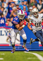 21 September 2014: Buffalo Bills wide receiver Robert Woods advances for a first down in the third quarter against the San Diego Chargers at Ralph Wilson Stadium in Orchard Park, NY. The Chargers defeated the Bills 22-10 in AFC play. Mandatory Credit: Ed Wolfstein Photo *** RAW (NEF) Image File Available ***