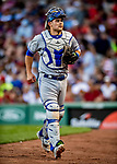 22 June 2019: Toronto Blue Jays catcher Luke Maile returns to the dugout during a game against the Boston Red Sox at Fenway :Park in Boston, MA. The Blue Jays rallied to defeat the Red Sox 8-7 in the 2nd game of their 3-game series. Mandatory Credit: Ed Wolfstein Photo *** RAW (NEF) Image File Available ***