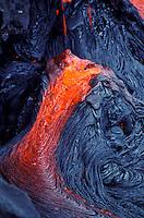 Hot pahoehoe lava flow at Kilauea volcano eruption at Hawaii volcanoes national park