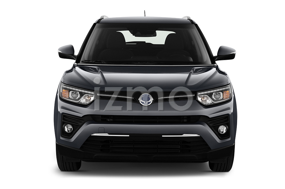 Car photography straight front view of a 2020 Ssangyong Tivoli Quartz 5 Door SUV Front View