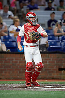 Johnson City Cardinals catcher Zach Jackson (15) during a game against the Danville Braves on July 28, 2018 at TVA Credit Union Ballpark in Johnson City, Tennessee.  Danville defeated Johnson City 7-4.  (Mike Janes/Four Seam Images)