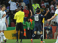 Landon Donovan seartches for answers following another controversial decision by referee Koman Coulibaly. The United States came from a 2-0 halftime deficit to Slovenia to earn a 2-2 draw their second match of play in Group C of the 2010 FIFA World Cup.