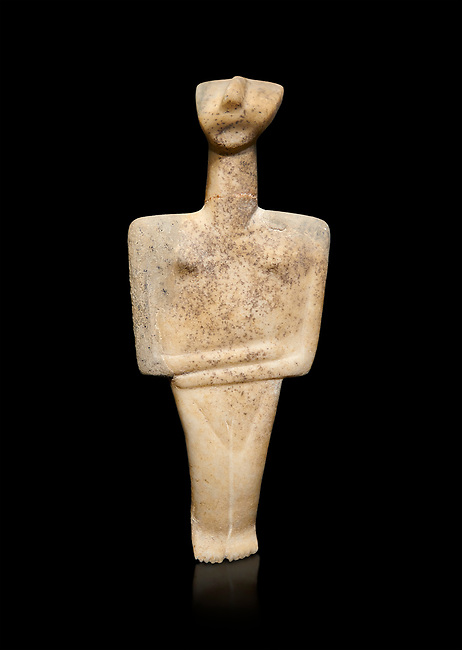 Cycladic Post Canonical type, Chalandrian variety female figurine statuette. Early Cycladic Period II Late Syros phase, (2500-2300 BC), Museum of Cycladic Art Athens, cat no 102.   Against black