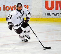 3 January 2009: Colgate Raiders' defenseman Mark Anderson, a Senior from Hastings, NE, in action against the Ferris State Bulldogs during the consolation game of the 2009 Catamount Cup Ice Hockey Tournament hosted by the University of Vermont at Gutterson Fieldhouse in Burlington, Vermont. The two teams battled to a 3-3 draw, with the Bulldogs winning a post-game shootout 2-1, thus placing them third in the tournament...Mandatory Photo Credit: Ed Wolfstein Photo
