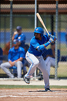 Toronto Blue Jays catcher Juan Kelly (19) at bat during a minor league Spring Training game against the New York Yankees on March 30, 2017 at the Englebert Complex in Dunedin, Florida.  (Mike Janes/Four Seam Images)